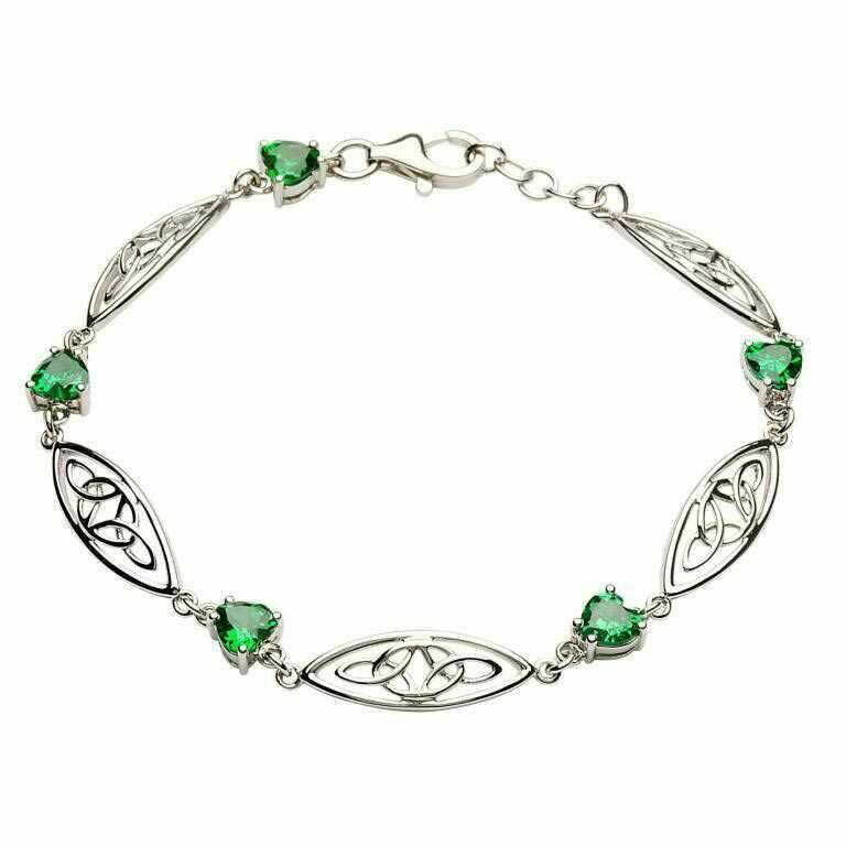 Sterling Silver Celtic Stone Set Trinity Bracelet