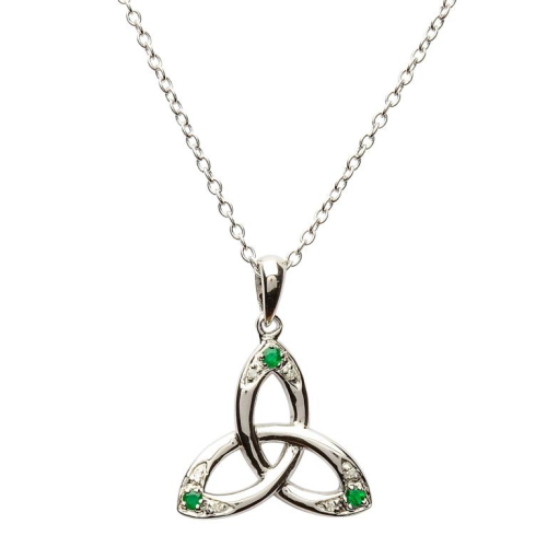 """Sterling Silver Celtic Trinity Knot Pendant Set with Emerald and Diamond & 18"""" Sterling Silver Chain"""