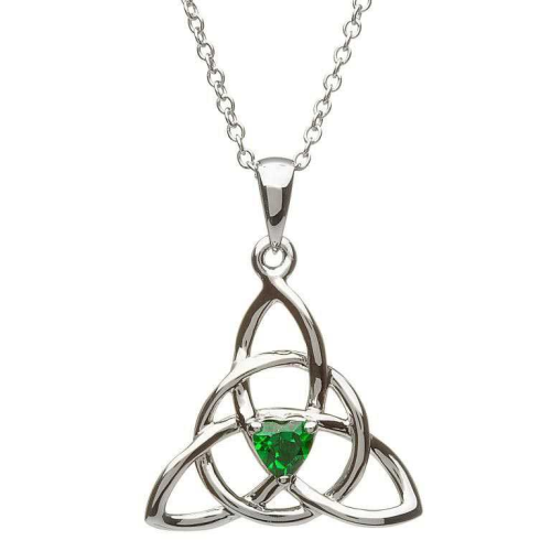 """Sterling Silver Celtic Trinity Stone Set Pendant & 18"""" Sterling Silver Chain"""