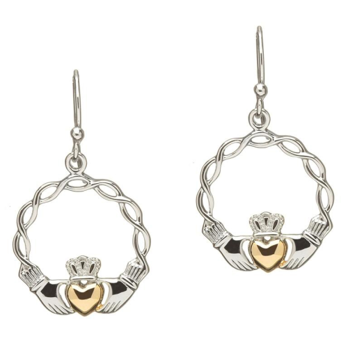 Sterling Silver Celtic Wave Claddagh Earrings
