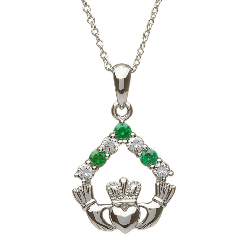 """Sterling Silver Claddagh Stone Set Green CZ and CZ Pendant & 18"""" Sterling Silver Chain"""
