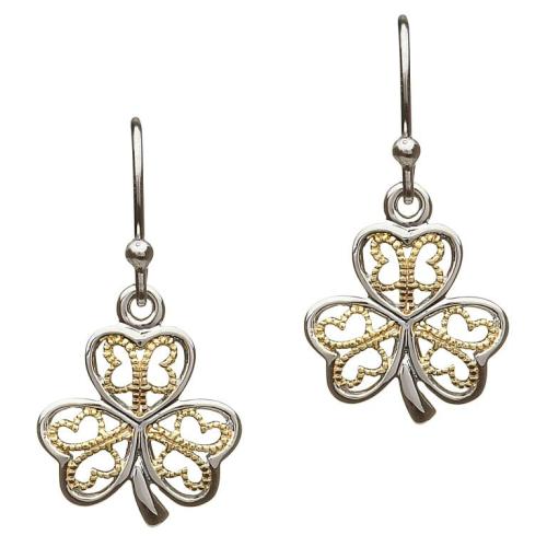 Sterling Silver Gold Plate Filigree Shamrock Earrings