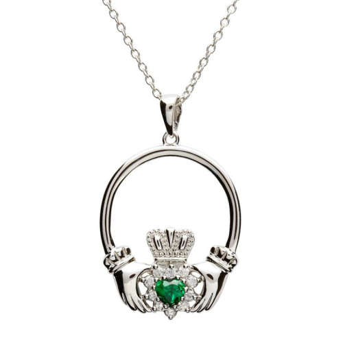 """Sterling Silver Claddagh Stone Set Traditional Pendant & 18"""" Sterling Silver Chain"""