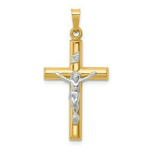 14kt. Gold Crucifix Two-Tone Pendant (Medium)