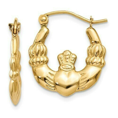 14kt. Gold Claddagh Hoop Earrings- Small Size