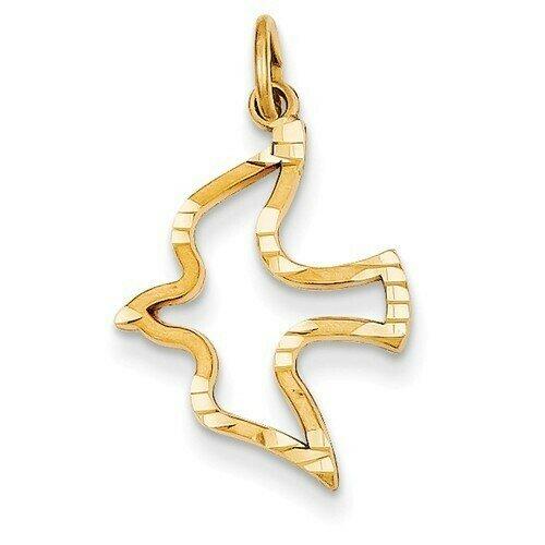 14kt. Gold Satin & Diamond-Cut Dove Charm