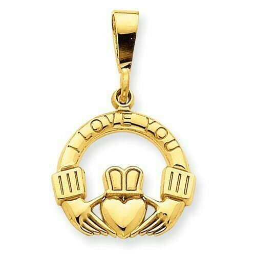 "14kt Gold ""I Love You"" Claddagh Pendant"