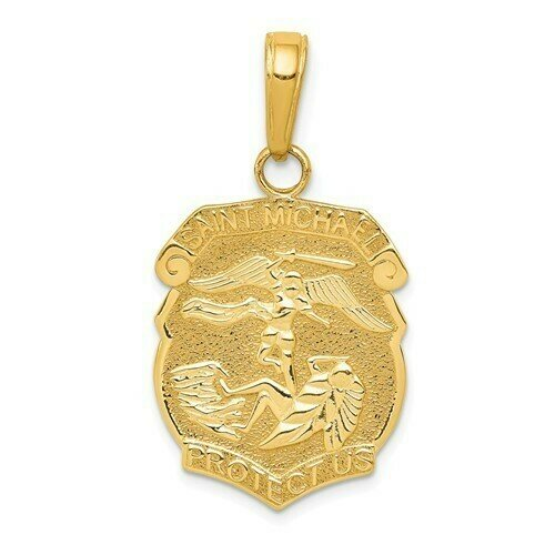 14kt Gold St. Michael Medal Badge Pendant- Smaller Size