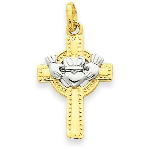 14kt Gold Two-tone Claddagh Cross Pendant
