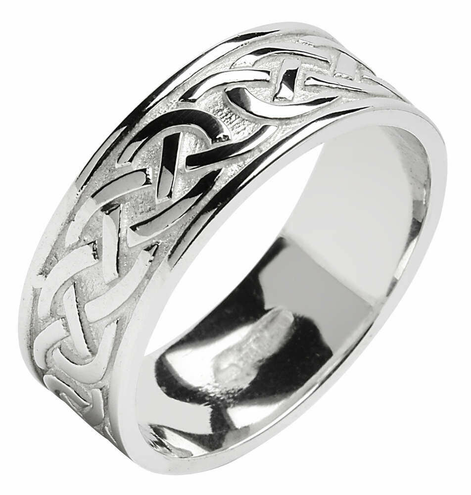Mens 14kt Gold Wide Trinity Knot Wedding Band with Edge