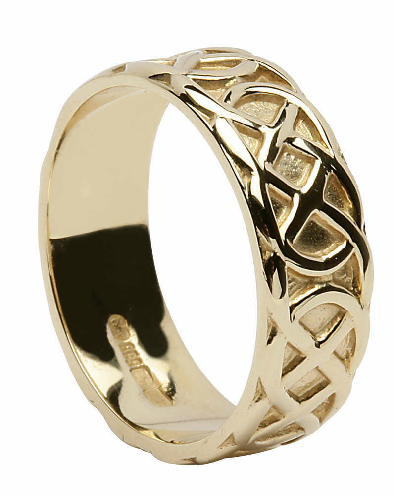Mens 14kt Gold Wide Trinity Knot Wedding Band