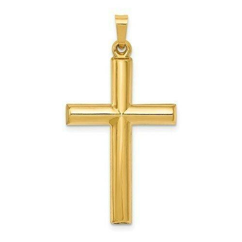 14kt. Gold Tube Cross Pendant (Large)