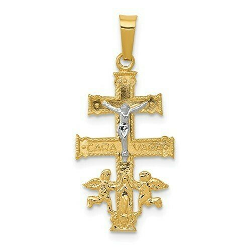 14kt. Gold Two-tone Cara Vaca Crucifix Pendant