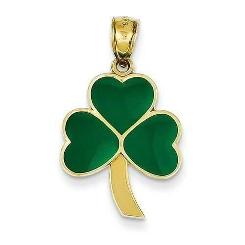 14kt Gold Green Enameled Shamrock Pendant