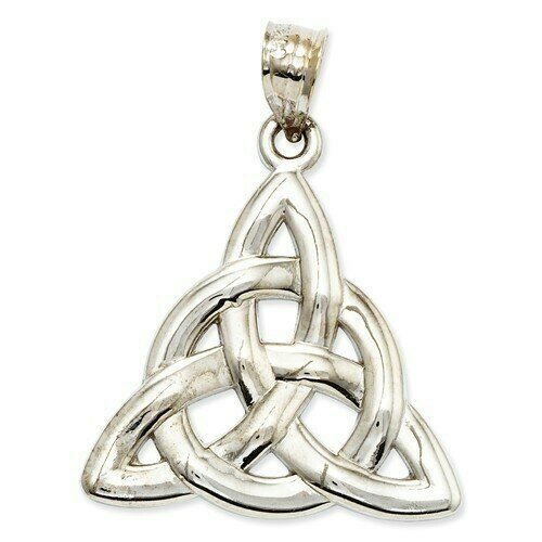 14kt Solid White Gold Polished Trinity Pendant