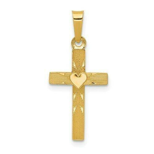 14kt. Gold Small Heart Cross Charm