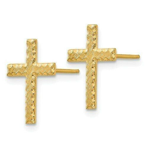 14kt Gold Cross Earrings
