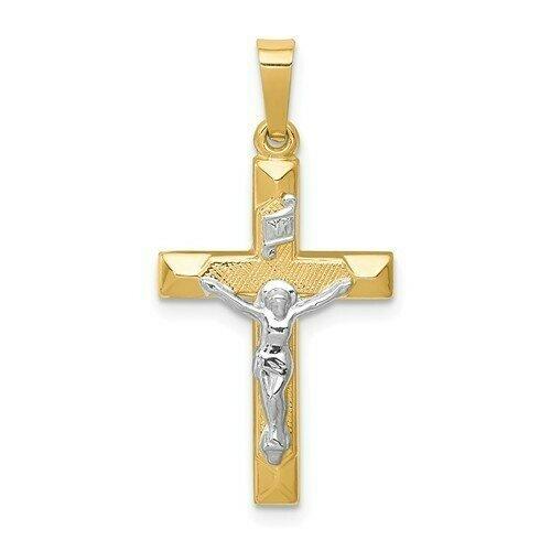 14kt. Gold Two-tone INRI Hollow Crucifix Pendant