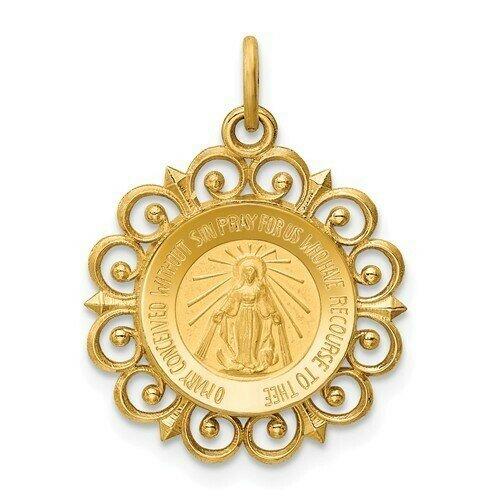 14kt Gold Miraculous Medal Filagree Pendant