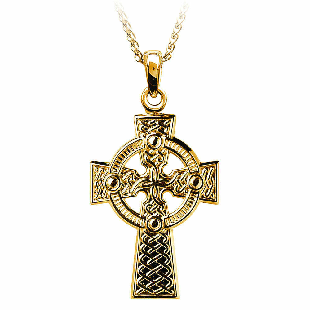 "10kt Yellow Gold Traditional Celtic Knot Cross- Large, and 10kt 18"" Chain"