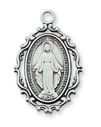 "Sterling Silver Beautiful Miraculous Medal on a 18"" Rhodium Plated Chain"
