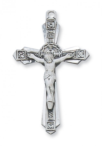 "Sterling Silver Large Ornate Crucifix on a 24"" Rhodium Plated Chain"