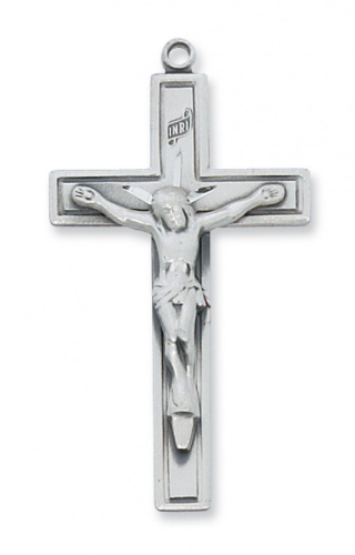 """Sterling Silver Outlined Crucifix on a 24"""" Rhodium Plated Chain"""