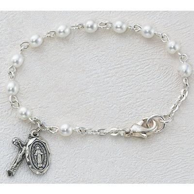 "Pearl Baby Rosary Bracelet- 5.5"""