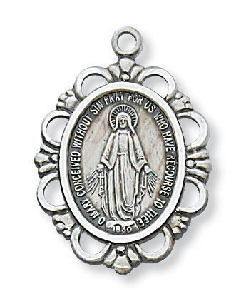 "Sterling Silver Ornate Miraculous Medal on a 18"" Rhodium Plated Chain"
