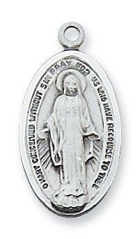 """Sterling Silver Oval Elongated Miraculous Medal on a 18"""" Rhodium Plated Chain"""