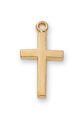 """Gold Plated Very Small Plain Cross on a 16"""" Gold Plated Chain"""