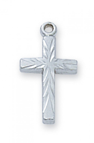"""Sterling Silver Mini Fancy Cross on a 16"""" Rhodium Plated Chain"""