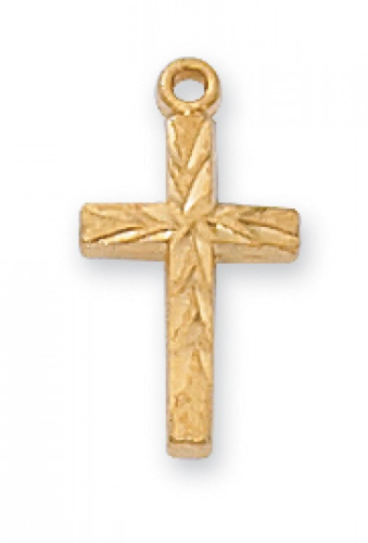 "Gold Plated Very Small Accented Cross on a 16"" Gold Plated Chain"