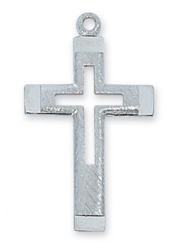 """Sterling Silver Cut Out Cross on an 18"""" Rhodium Plated Chain"""