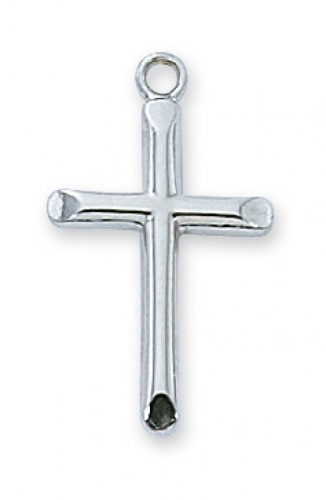 """Sterling Silver Beveled Cross on an 18"""" Rhodium Plated Chain"""