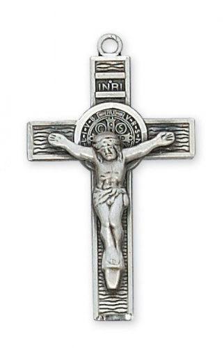 "Sterling Silver St. Benedict Crucifix on a 24"" Rhodium Plated Chain"