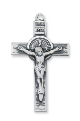 "Sterling Silver Large St. Benedict Crucifix on a 24"" Rhodium Plated Chain"