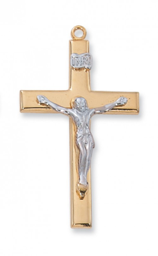 """Gold Plated Two-Tone Sterling Silver Crucifix on a 24"""" Gold Plated Chain"""