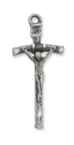 "Sterling Silver Large Papal Crucifix on a 24"" Rhodium Plated Chain"