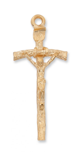 "Gold Plated Papal Crucifix on a 24"" Gold Plated Chain"