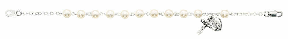 Adult Glass Pearl Rosary Bracelet
