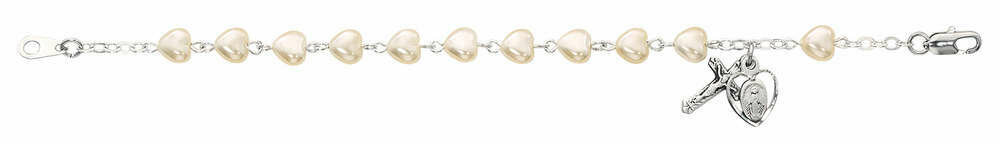 Youth Pearl Heart Rosary Bracelet