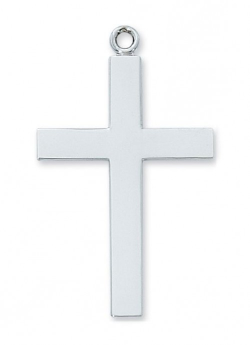 """Sterling Silver Lord's Prayer Cross on a 24"""" Rhodium Plated Chain"""