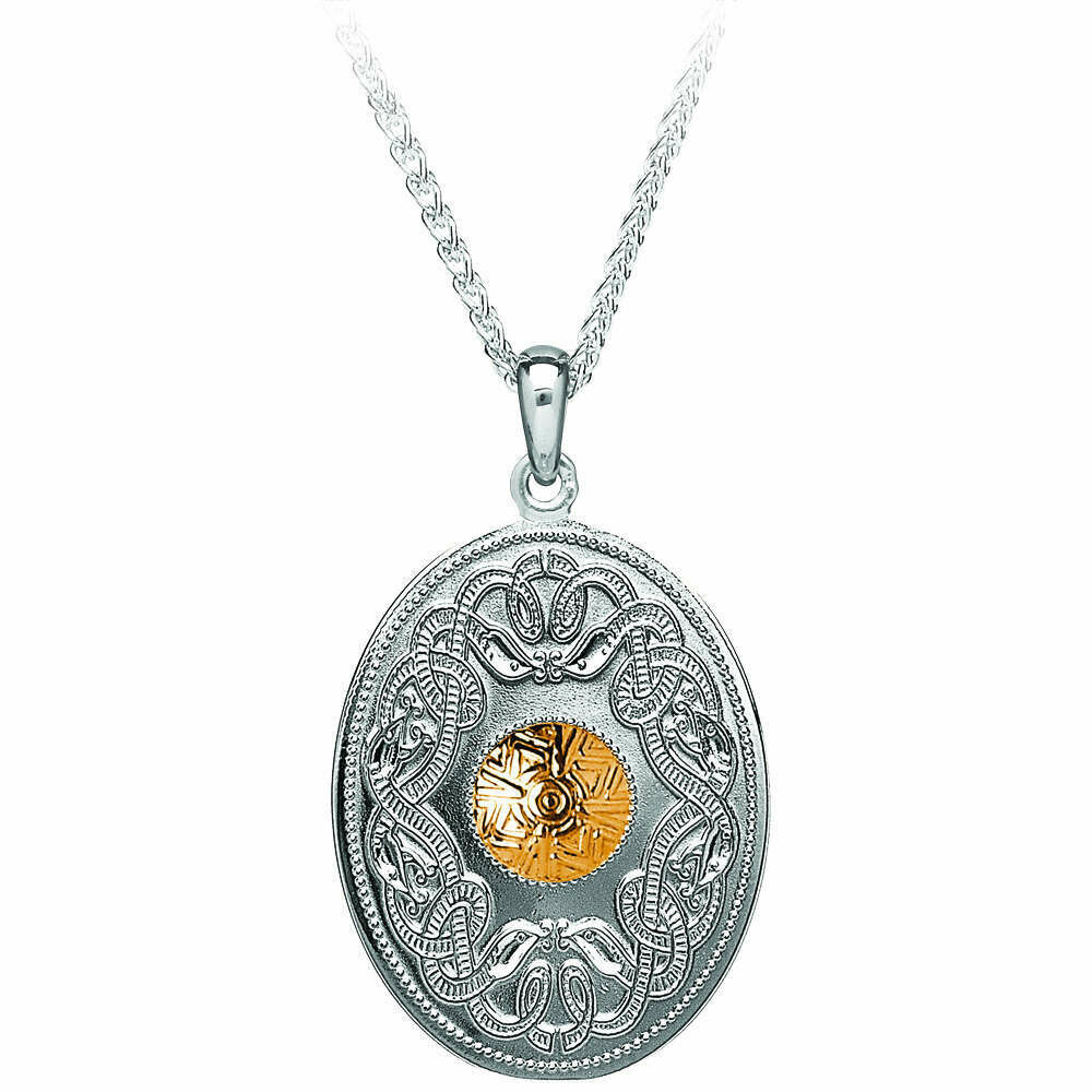 "Sterling Silver Celtic Warrior® Shield Pendant with Gold Bead- Oval & 18"" Sterling Silver Chain"