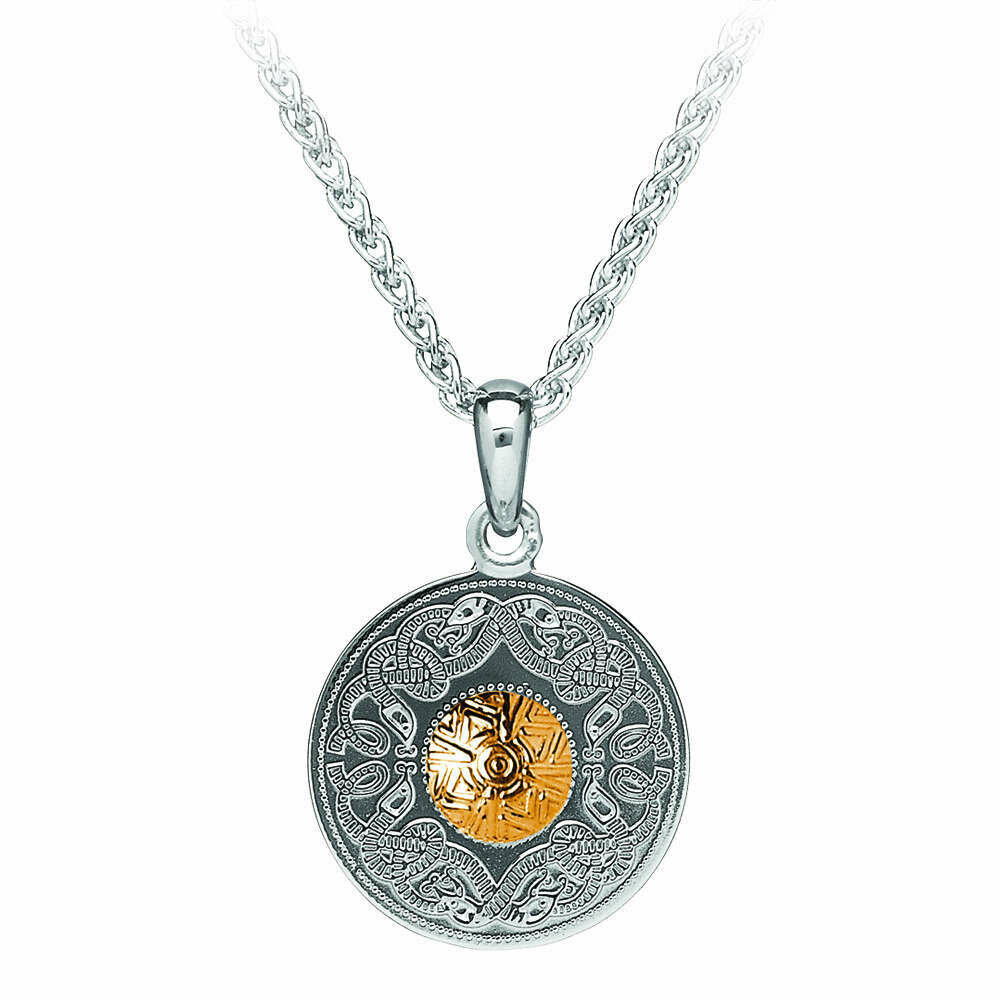 """Sterling Silver Celtic Warrior® Shield Pendant with 18K Gold Bead- Small & 18"""" Sterling Silver Chain"""