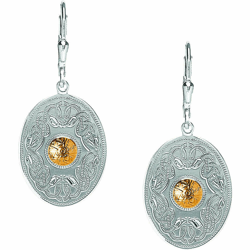 Sterling Silver Celtic Warrior® Shield Earrings with 18K Gold Bead