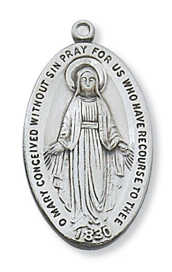 """Sterling Silver Large Oval Miraculous Medal on a 24"""" Rhodium Plated Chain"""