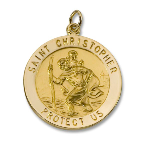 """15/16"""" Diameter 14kt Solid Gold St. Christopher Medal"""