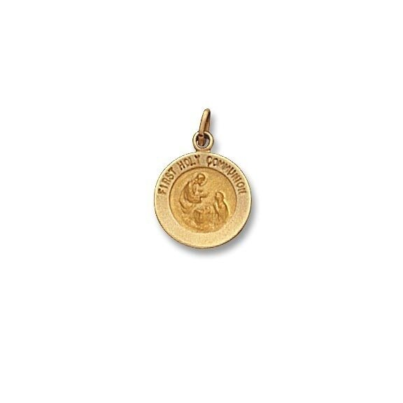 "1/2"" Diameter 14kt Solid Gold First Holy Communion Medal"