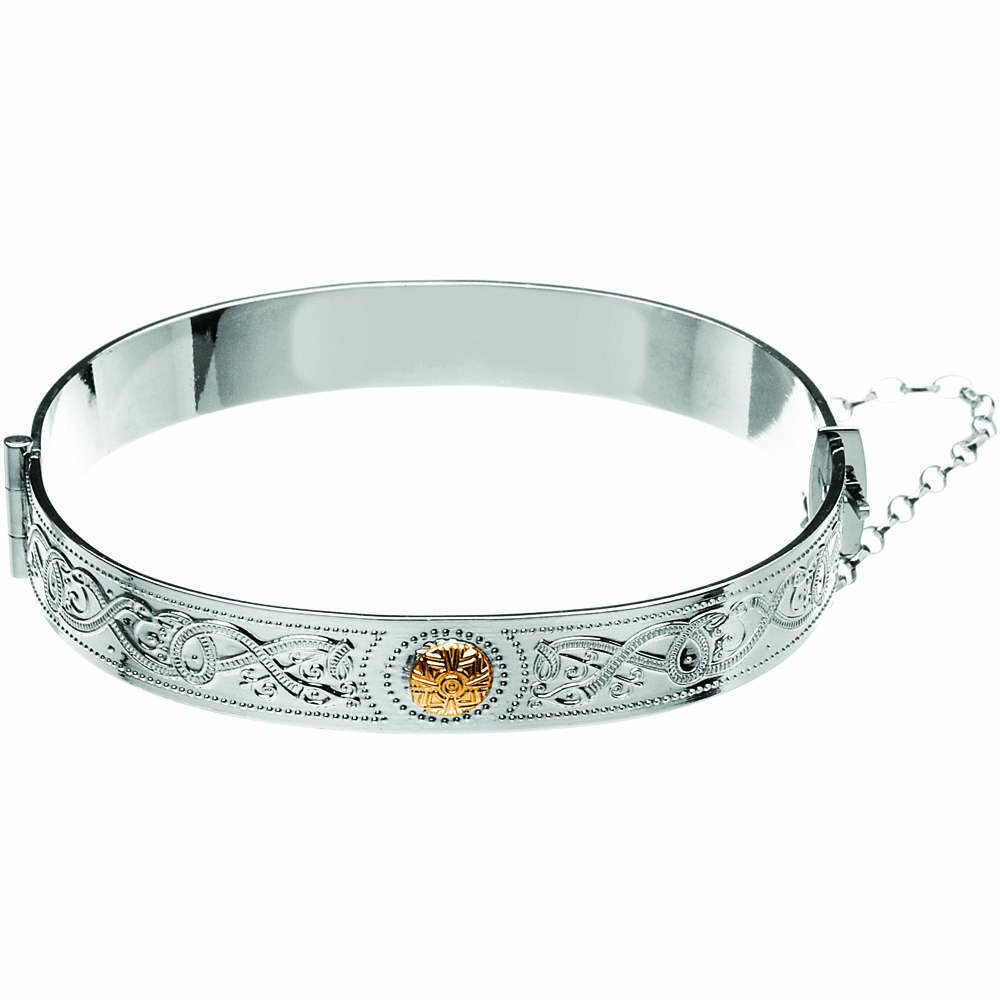 Sterling Silver Celtic Warrior® Bangle with 18K Gold Bead